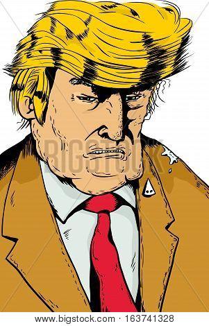 Grumpy Trump With Bird Poop On Shoulder