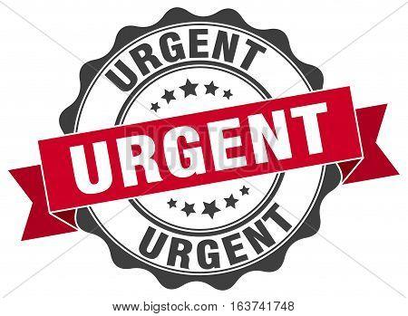 urgent. stamp. sign. seal. round. retro. ribbon
