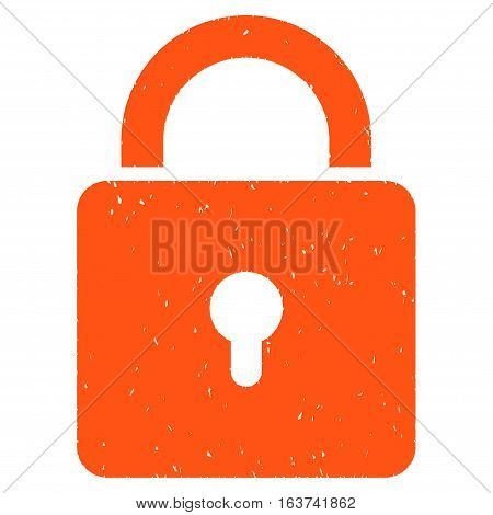 Lock grainy textured icon for overlay watermark stamps. Flat symbol with unclean texture. Dotted vector orange ink rubber seal stamp with grunge design on a white background.
