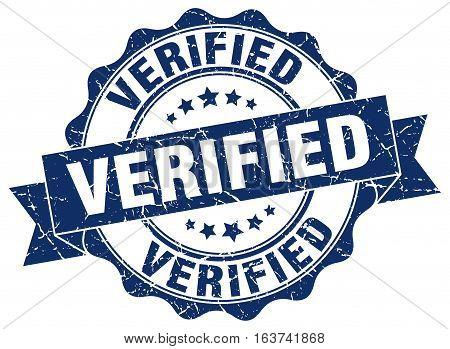 verified. stamp. sign. seal. round. retro. ribbon