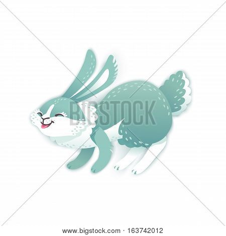 Smiling cartoon rabbit. Funny bunny. Cute hare. Vector illustration grouped and layered for easy editing
