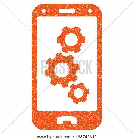 Smartphone Settings grainy textured icon for overlay watermark stamps. Flat symbol with dust texture. Dotted vector orange ink rubber seal stamp with grunge design on a white background.