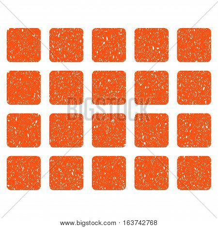 Square Grid grainy textured icon for overlay watermark stamps. Flat symbol with dust texture. Dotted vector orange ink rubber seal stamp with grunge design on a white background.