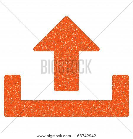Upload grainy textured icon for overlay watermark stamps. Flat symbol with dust texture. Dotted vector orange ink rubber seal stamp with grunge design on a white background.