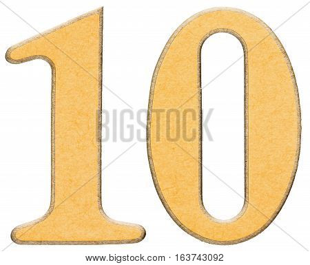 10, Ten, Numeral Of Wood Combined With Yellow Insert, Isolated On White Background