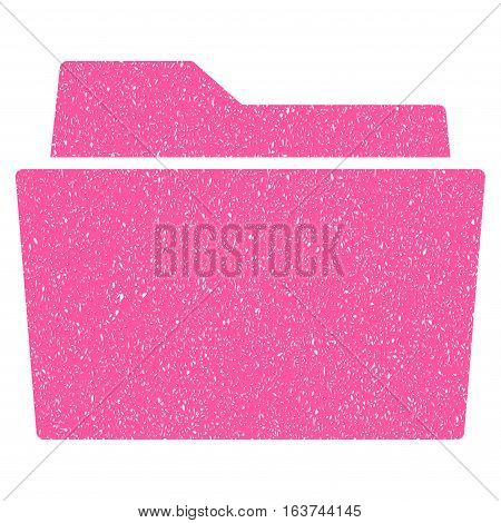 Folder grainy textured icon for overlay watermark stamps. Flat symbol with scratched texture. Dotted vector pink ink rubber seal stamp with grunge design on a white background.