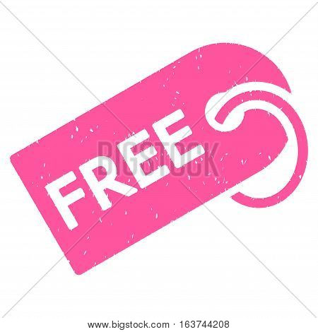 Free Tag grainy textured icon for overlay watermark stamps. Flat symbol with dirty texture. Dotted vector pink ink rubber seal stamp with grunge design on a white background.