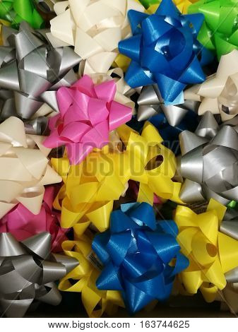 Celebration the boxing day with closed up variety colorful ribbon collection for gift 5