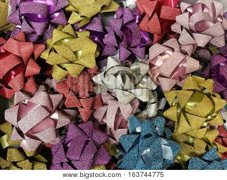Celebration the boxing day with closed up variety colorful ribbon collection for gift 4