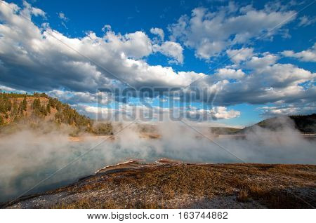 Excelsior Geyser in the Midway Geyser Basin next to the Firehole River in Yellowstone National Park in Wyoming U S A