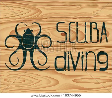 logo scuba diving with diving suit, wood texture, eps10