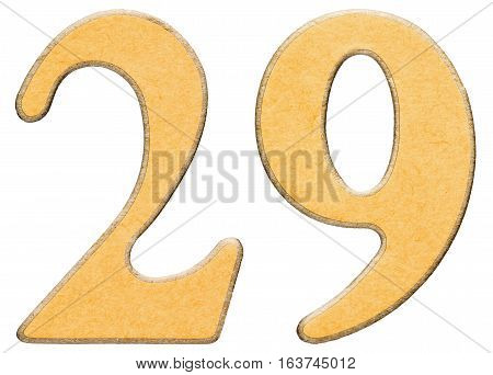 29, Twenty Nine, Numeral Of Wood Combined With Yellow Insert, Isolated On White Background