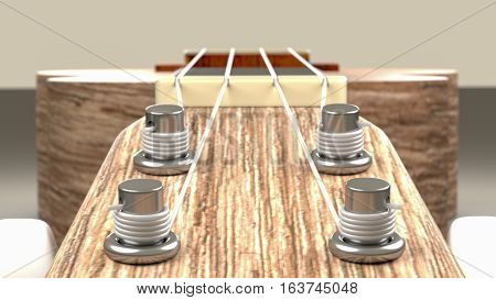 3D Rendering, Close Up View Of The Tuner Part Of Ukulele