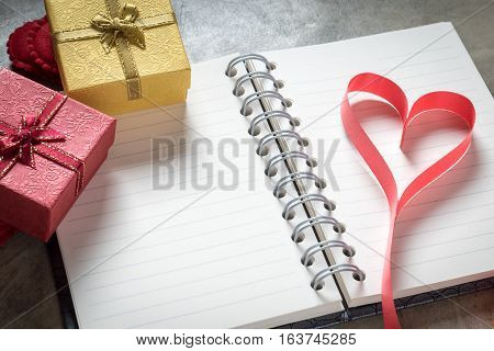 Valentine Day Background,red Heart With Notebook Paper Red White Rose