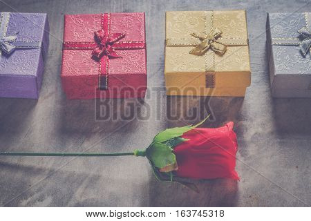 Valentine's Day Background,red Heart With Red White Rose ,ribbon And Present Box
