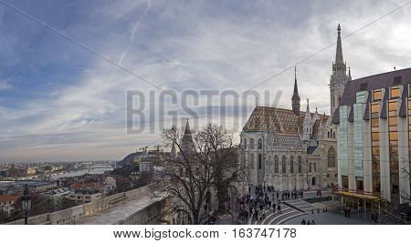 Panoramic View Of The Fisherman's Bastion(buda Castle). Castle Hill District (varhegy), Buda, Budape