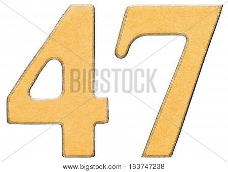 47, Forty Seven, Numeral Of Wood Combined With Yellow Insert, Isolated On White Background