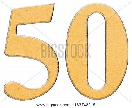 50, Fifty, Numeral Of Wood Combined With Yellow Insert, Isolated On White Background