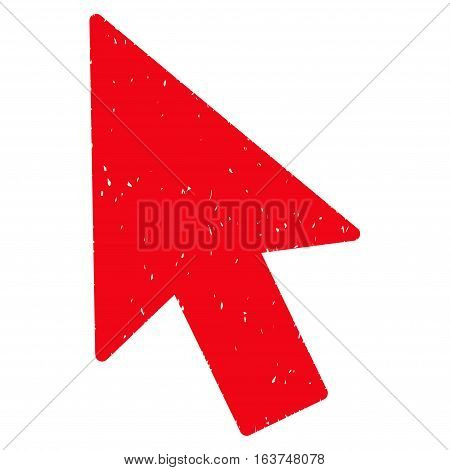 Mouse Cursor grainy textured icon for overlay watermark stamps. Flat symbol with scratched texture. Dotted vector red ink rubber seal stamp with grunge design on a white background.
