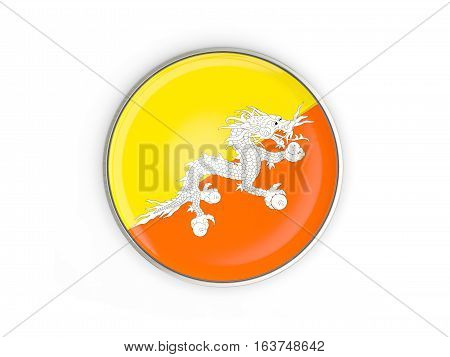 Flag Of Bhutan, Round Icon With Metal Frame