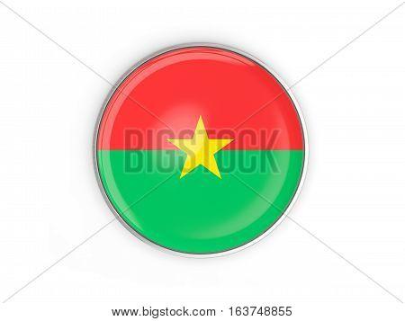 Flag Of Burkina Faso, Round Icon With Metal Frame