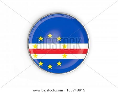 Flag Of Cape Verde, Round Icon With Metal Frame