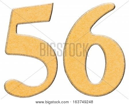 56, Fifty Six, Numeral Of Wood Combined With Yellow Insert, Isolated On White Background