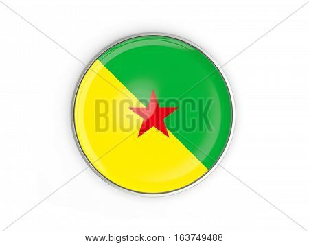 Flag Of French Guiana, Round Icon With Metal Frame
