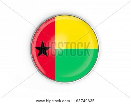 Flag of guinea bissau, round icon with metal frame isolated on white. 3D illustration