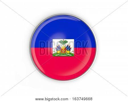 Flag Of Haiti, Round Icon With Metal Frame