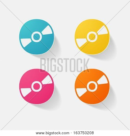 Sticker paper products realistic element design illustration disc