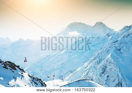 Cable Car On The Ski Resort In The Winter Mountains