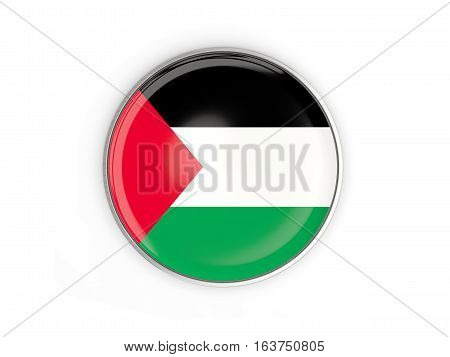 Flag Of Palestinian Territory, Round Icon With Metal Frame