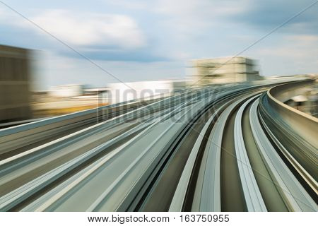Speed Motion Blurred Of Moving Train, Abstract Background
