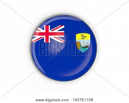 Flag Of Saint Helena, Round Icon With Metal Frame