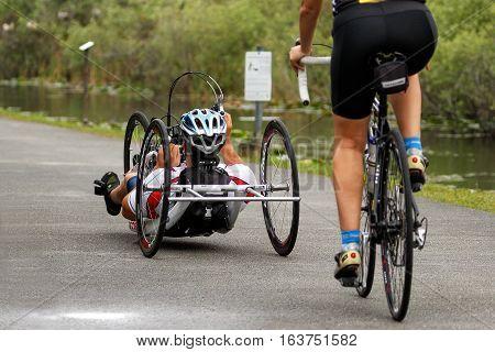 Man Riding Recumbent Bycicle