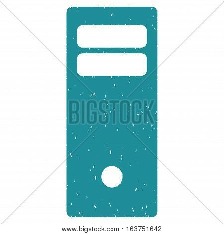 Computer Mainframe grainy textured icon for overlay watermark stamps. Flat symbol with scratched texture. Dotted vector soft blue ink rubber seal stamp with grunge design on a white background.