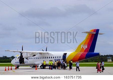 Tongatapu, Tonga - November 10: Fiji Airways Airplane At Fua'amotu International Airport On November