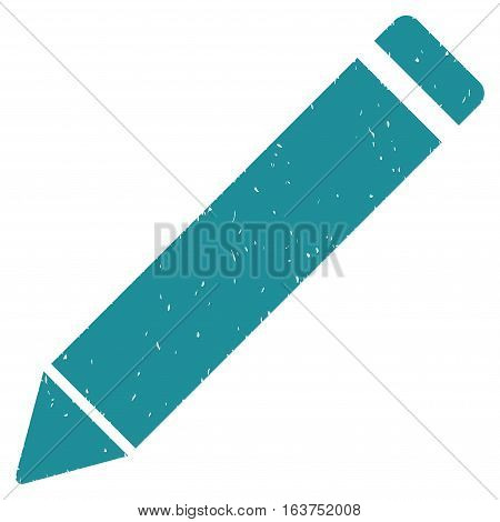 Edit Pencil grainy textured icon for overlay watermark stamps. Flat symbol with dirty texture. Dotted vector soft blue ink rubber seal stamp with grunge design on a white background.