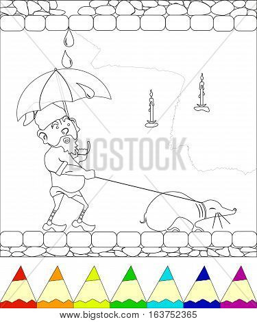 coloring page, gnome walking with mole and closing an umbrella from the rain, eps10