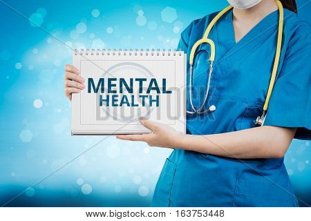 Doctor Shows Mental Health Text On White Line Paper Book.