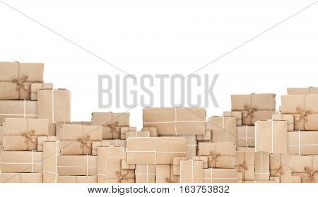 Pile of parcel post box, isolated on white background