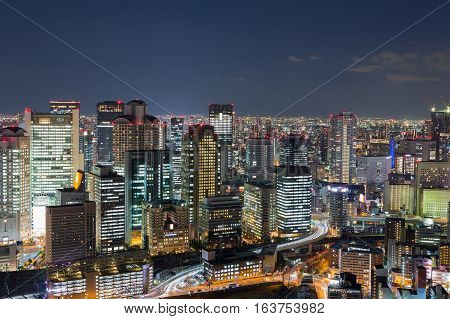 Osaka city downtown from Umeda Sky building at twilight, Japan