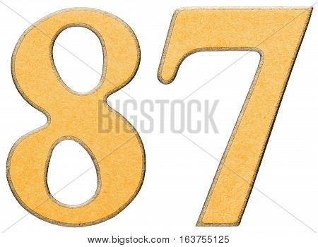 87, Eighty Seven, Numeral Of Wood Combined With Yellow Insert, Isolated On White Background