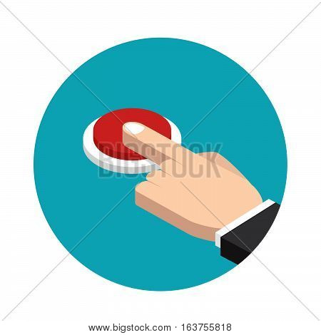 Hand pressing red buttonflat style icon vector illustration stock