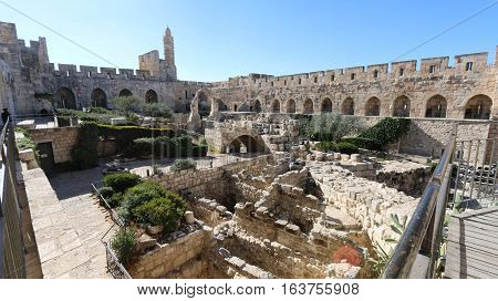Tower of David is the citadel that stands today dates to the Mamluk and Ottoman periods. It was built on the site of an earlier ancient fortification of the Hasmonean, Herodian-era, Byzantine and Early Muslim periods, after being destroyed repeatedly duri