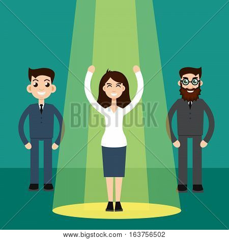 Businesswoman character in spotlight vector illustration stock