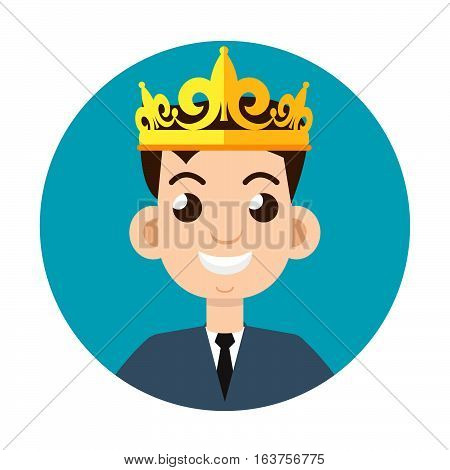 businessman crown  logo or icon vector illustration stock