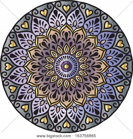 Drawing of a floral mandala in gold, gray and violet colors on a white background. Hand drawn tribal  vector stock illustration