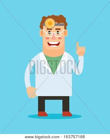 Dentist cartoon character. Stomatologist smiling icon on blue background. Vector illustration